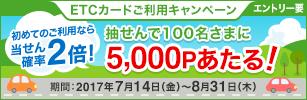 期間中にエントリーのうえ、当社発行のETCカードを3,000円以上ご利用いただいた方に抽せんでポイントプレゼント!